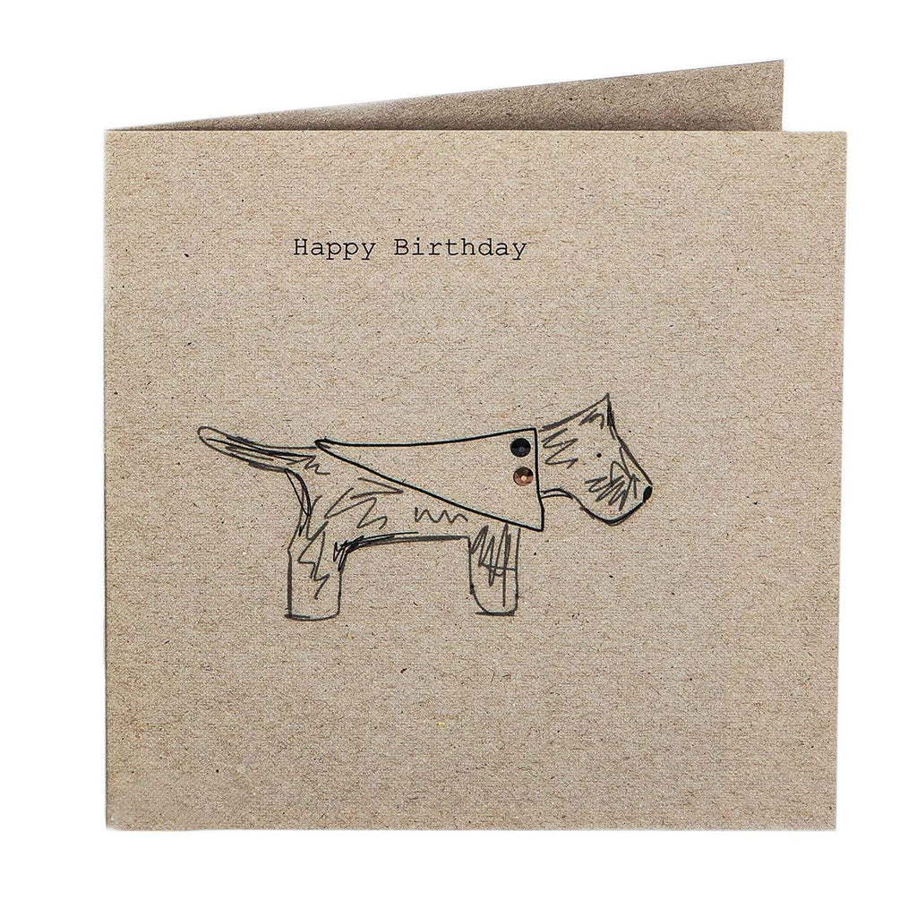 Print Circus Embellished Greetings Card NT06 Happy Birthday (pooch in coat) square hand embellished card