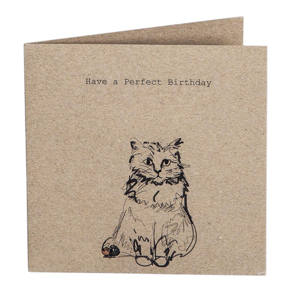 Print Circus Embellished Greetings Card NT09 Happy Birthday (cat) square embellished card