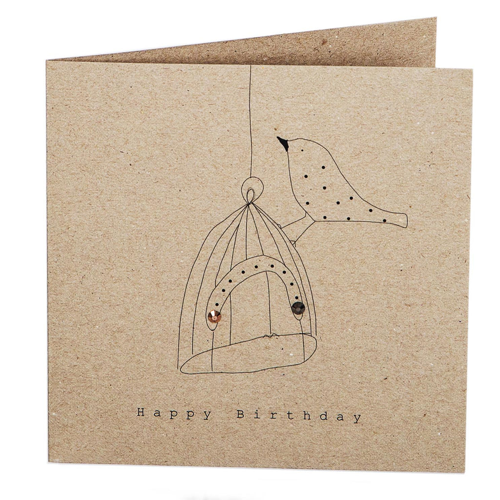 Print Circus Embellished Greetings Card NT12 Bird with Cage Hand square embellished card