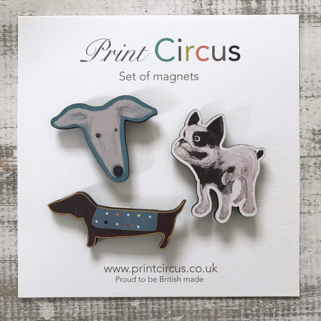 Print Circus Gift set of 3 dog magnets, beautifully presented laser cut and printed magnets
