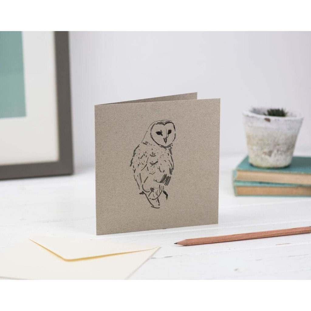 Print Circus Greetings Card BC03 Barn Owl Greetings Card