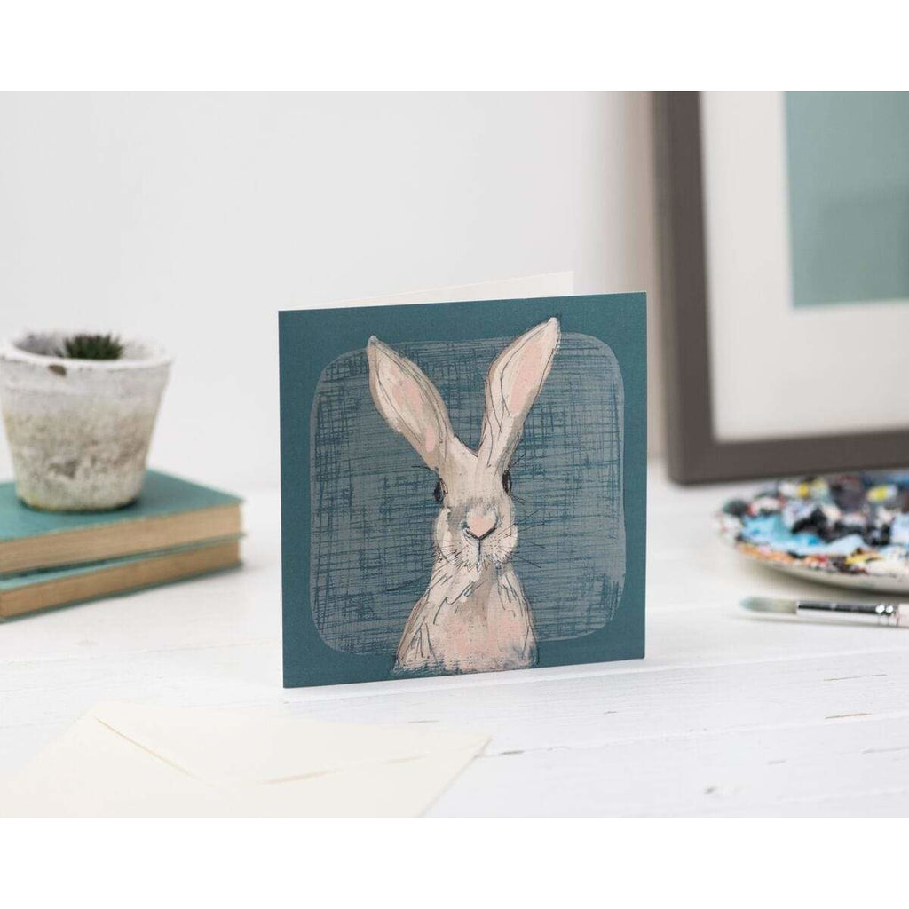 Print Circus Greetings Card Hare with Teal Greetings Card