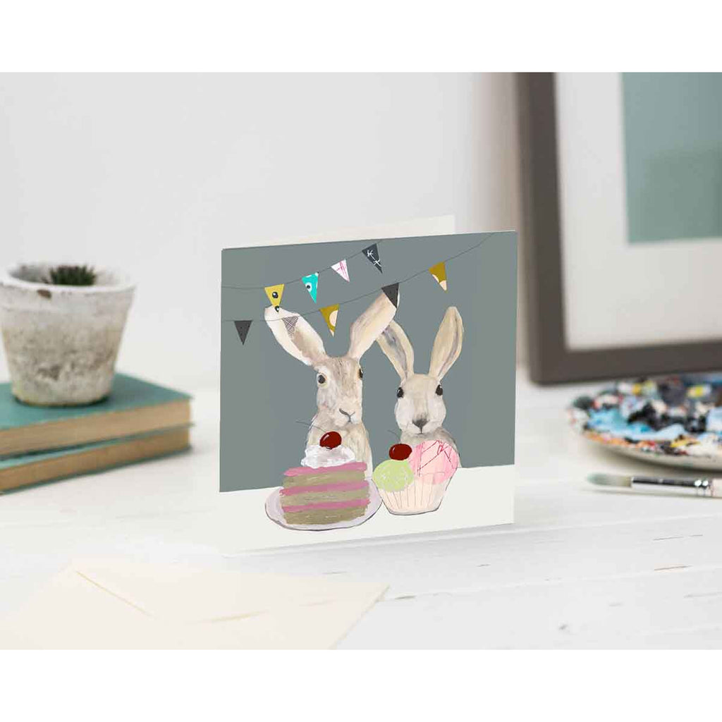 Print Circus Greetings Card MH05 Hares Tea Party Greetings Card