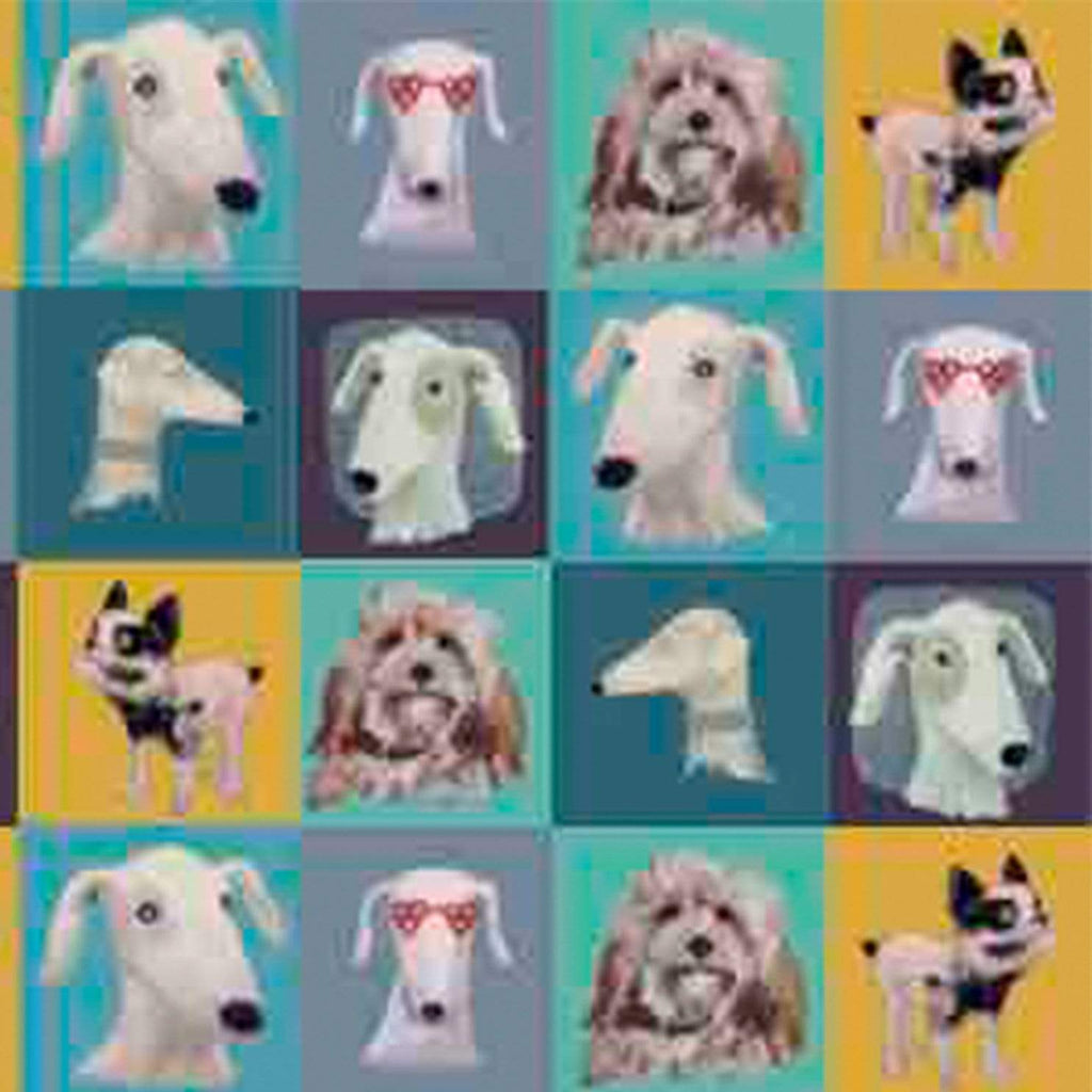 Print Circus Greetings Card PW01 Patchwork Pups Greetings Card