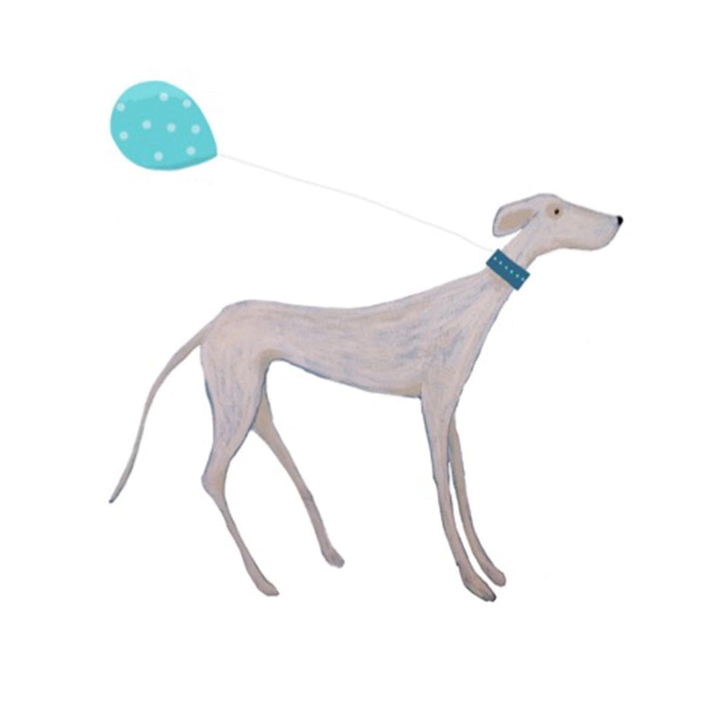 Print Circus Greetings Card Standing Hound with Balloon Greetings Card