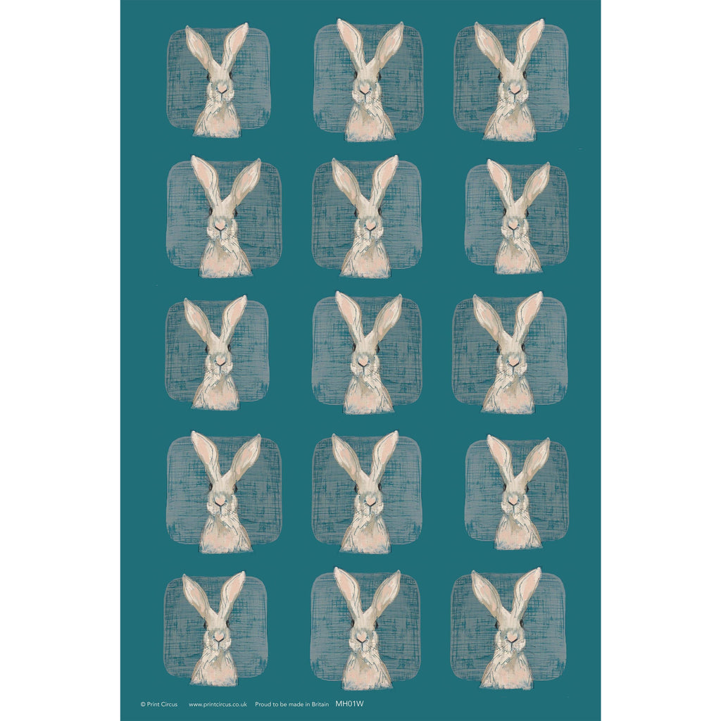 Print Circus Hare with Teal Gift Wrap