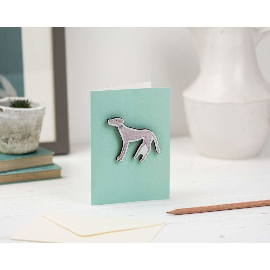 Print Circus Magnet Card MC16-r Standing Hound magnet on mint greetings card