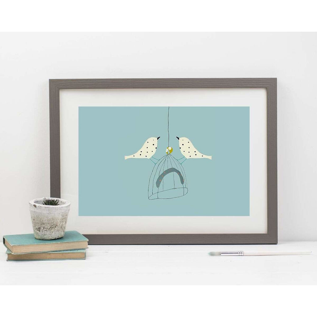 Print Circus Prints A3 frame Two Dotty Birds print