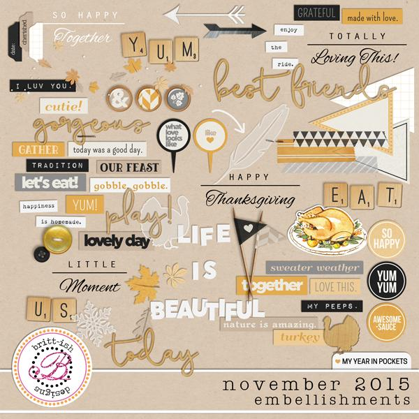 My Year In Pockets (November 2015): Embellishments
