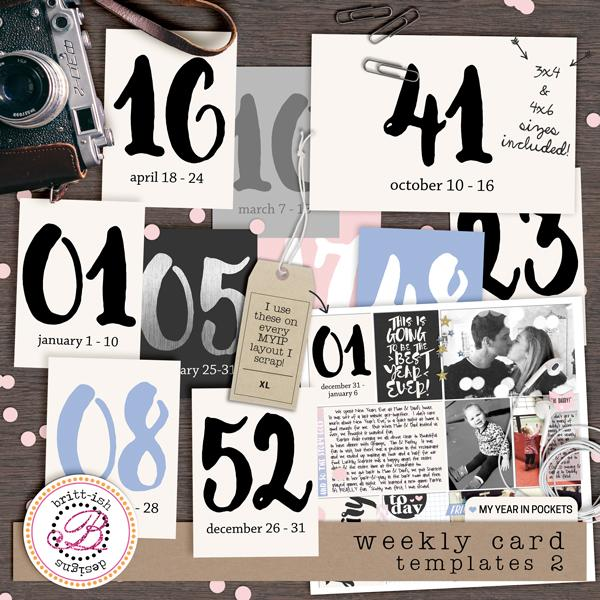 My Year In Pockets: Weekly Card Templates 2