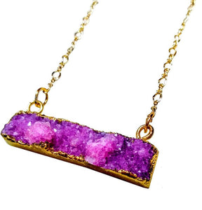 Pink Fuschia raw natural dyed geode druzy bar gold pendant necklace with gold plated figure 8 chain