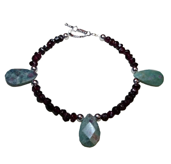Ruby Ziosite Gemstone Teardrop Beaded bracelet with Garnet gemstone beads Silver accents Toggle clasp