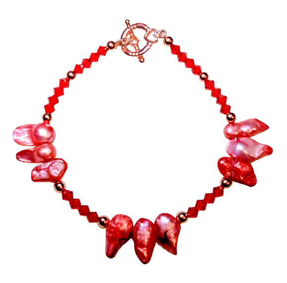 Red Crystal and Coral Baroque Pearls Bracelet with Copper Accents