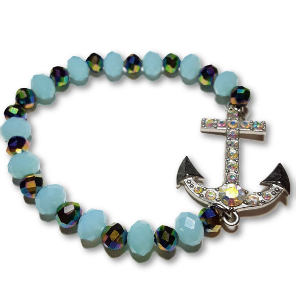 Blue Opaque Crystal and Rainbow Crystal Large Anchor Stretch Charm Bracelet