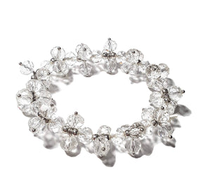 Pure White Clear Crystal Multi Beaded Twist Stretch Bracelet Bead Jewelry