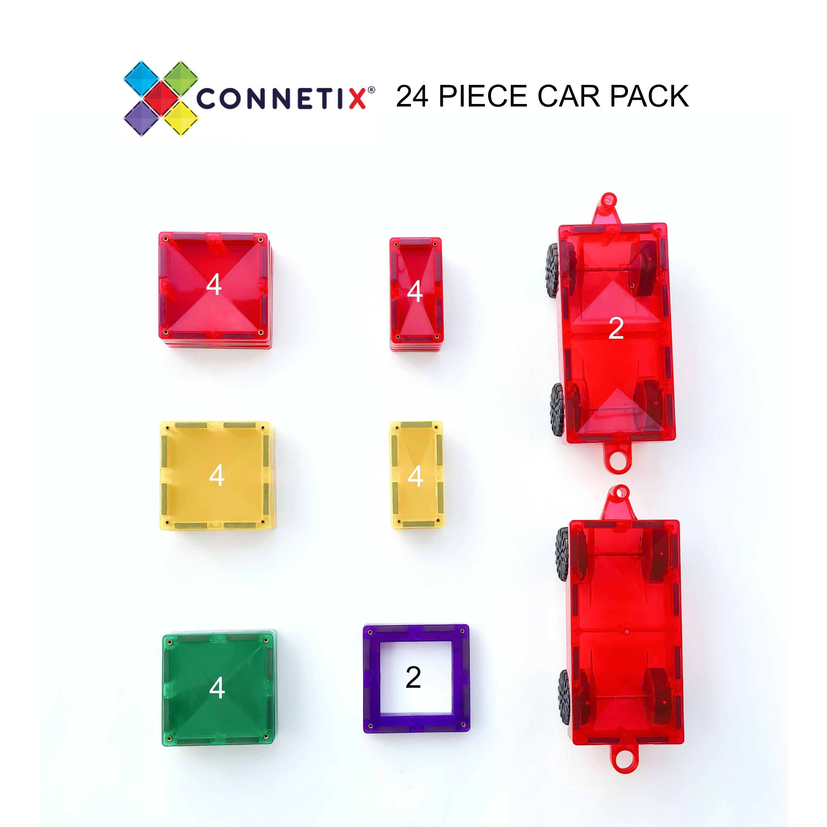 Connetix Tiles - 24 pcs with Wheels