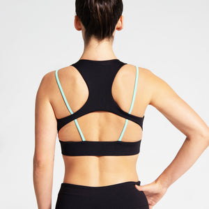 Cross Strap Sports Bra in Black and Mint Green
