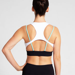 Cross Strap Sports Bra in White and Mint Green