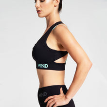 Load image into Gallery viewer, Cross Strap Sports Bra in Black and Mint Green