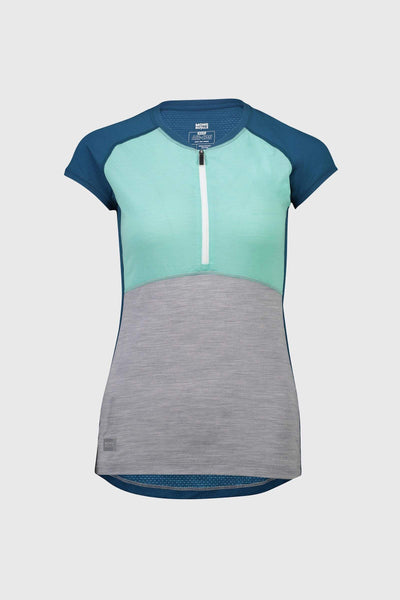 Bella Tech Zip Tee - Oily Blue / Peppermint / Grey Marl