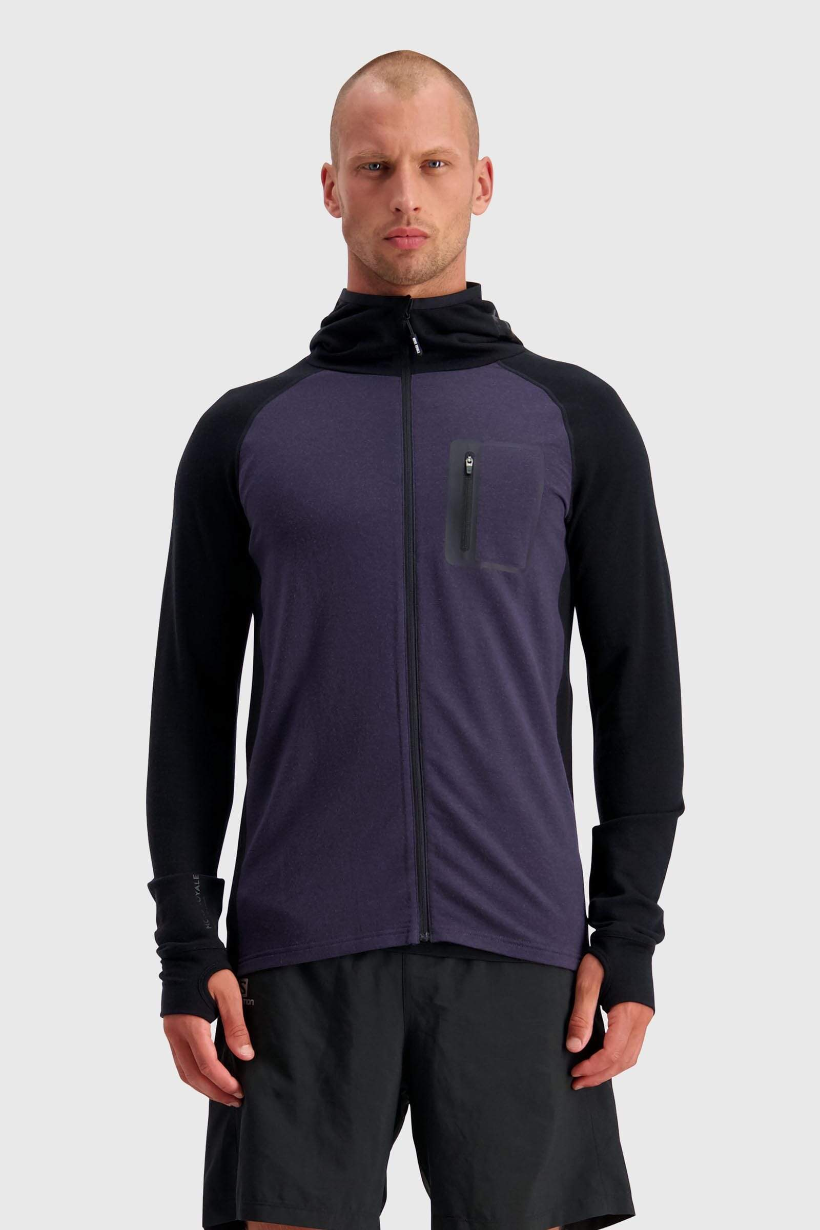 Traverse Midi Full Zip Hood - Black / 9 Iron