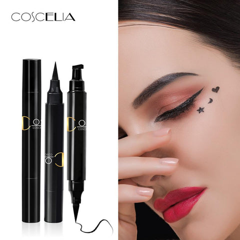 2018 New COSCELIA Brand Eyes Liner Make Up Pencil Waterproof Black Double-ended Makeup Stamps Eyeliner Pencil