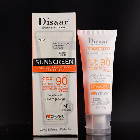 1pc Disaar Beauty Skin Care Facial Sunscreen Cream Spf Max 90 Oil Free Radical Scavenger Anti Oxidant UVA/UVB 40g Sunblock