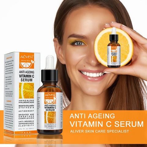30ml, vitamin C facial serum, used for freckle brightening, repairing eye wrinkles, neck brightening, anti-aging skin care vitam