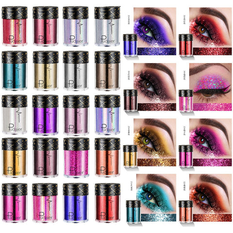 Pudaier Make Up Eye Glitter Tattoo Powder Sequins  24 Colors Holographic for Art Eye Skin Festival Glitter for Face Body TSLM1