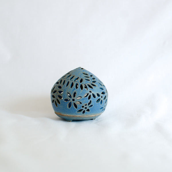 Small Blue Hand Made Ceramic Candle Holder