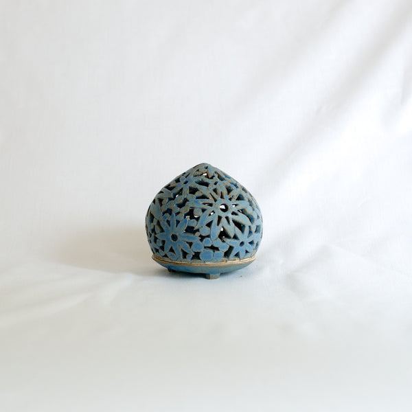 Small Blue 'Flower Design' Hand Made Ceramic Candle Holder