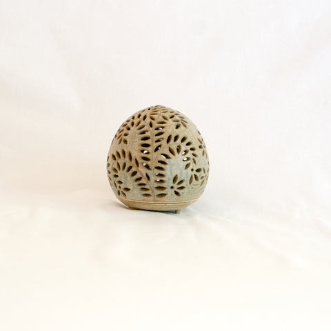 Medium Eggshell Green Hand Made Ceramic Candle Holder - SALE
