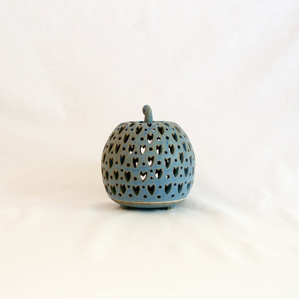 Medium Blue Hand Made Ceramic Candle Holder - SALE