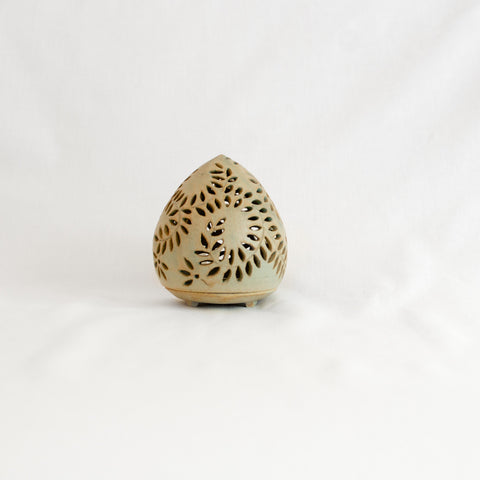 Small Eggshell Green Hand Made Ceramic Candle Holder