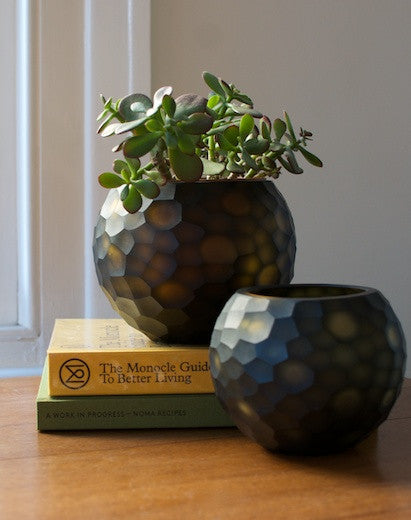 Round Cut Glass Vase - Moss