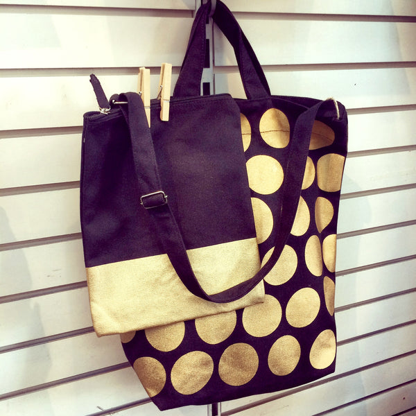 Latex and Canvas Tote - Midas Touched - Black