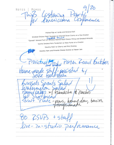 Menu notes from TWB live perfromance at SG for The Muse release