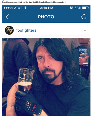 Dave Grohl with Beer and BeDazzled drum glove