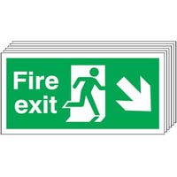 Pack of 6 - Fire Exit (Arrow Diagonal Down & Right) Signs