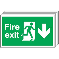 Pack of 6 - Fire Exit (Arrow Down) Signs
