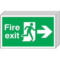 Pack of 6 - Fire Exit (Arrow Right) Signs