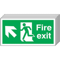 Pack of 6 - Fire Exit (Arrow Diagonal Up & Left) Signs