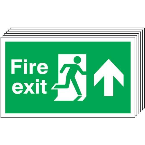 Pack of 6 - Fire Exit (Arrow Up) Signs