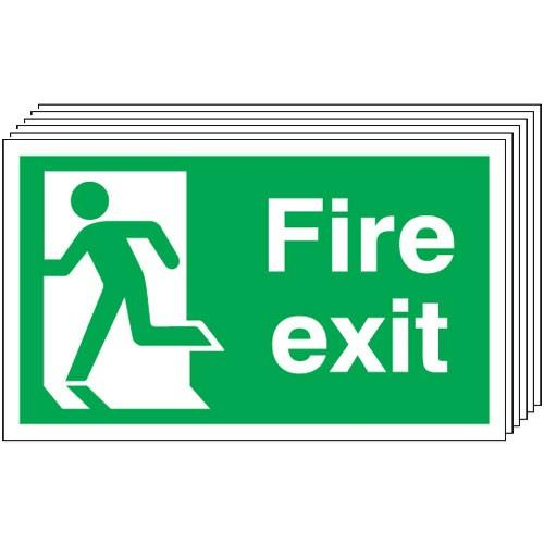 Pack of 6 - Fire Exit (Running Man Left) Signs