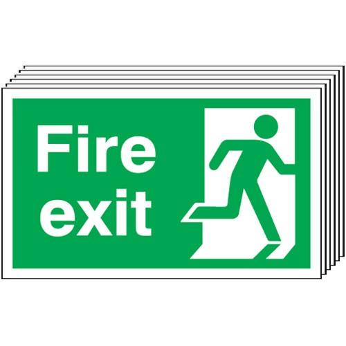 Pack of 6 - Fire Exit (Running Man Right) Signs