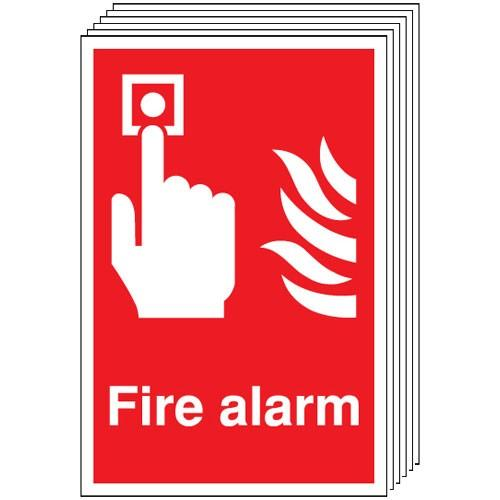 Pack of 6 - Fire Alarm Signs