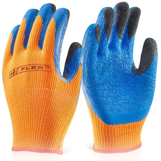 Latex Thermo Gloves - Hot & Cold Protection (Orange/Blue)