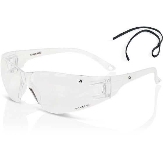 Clear Wrap Around Safety Glasses (With Cord)