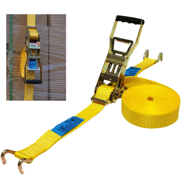 5 Tonne, 10 Metre Ergonomic Cargo Strap With Open Rave Hook