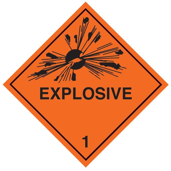 Class 1 - Explosive - 100mm x 100mm label (single or rolls of 250) (50mm x 50mm available)